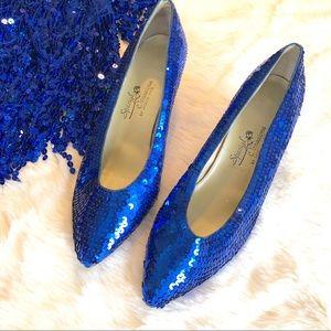 Blue Sequin Heels